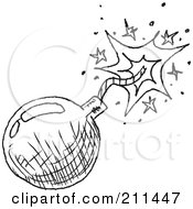 Royalty Free RF Clipart Illustration Of A Black And White Bomb Doodle Sketch by yayayoyo