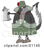 Clipart Illustration Of A Drunken Oktoberfest Skunk In A Green Costume Holding A Silver Beer Stein