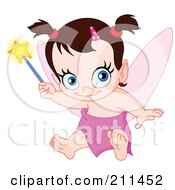 Royalty Free RF Clipart Illustration Of A Cute Baby Pixie Holding A Wand by yayayoyo