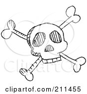 Royalty Free RF Clipart Illustration Of A Black And White Skull And Crossbones Doodle Sketch by yayayoyo