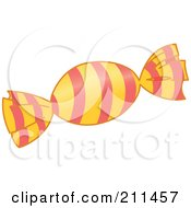 Royalty Free RF Clipart Illustration Of A Piece Of Hard Candy In A Striped Wrapper by yayayoyo