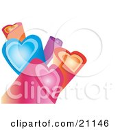 Clipart Illustration Of Pink Orange Blue And Purple Heart Columns Facing Different Directions Over A White Background