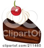 Royalty Free RF Clipart Illustration Of A Cherry And Whipped Cream On Top Of Chocolate Cake by yayayoyo