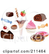 Royalty Free RF Clipart Illustration Of A Digital Collage Of Candies And Desserts by yayayoyo