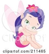 Purple Haired Fairy In A Pink Dress Resting With Her Knees Up