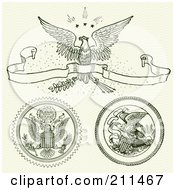Royalty Free RF Clipart Illustration Of A Digital Collage Of Eagle Ornaments And Banners by BestVector