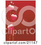 Romantic Red Valentines Day Background Of Three Hearts With Sparkling Ribbons by elaineitalia