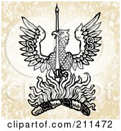 Royalty Free RF Clipart Illustration Of A Flaming Eagle Design by BestVector