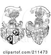 Royalty Free RF Clipart Illustration Of A Digital Collage Of Two Lion And Shield Crests by BestVector