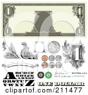Royalty Free RF Clipart Illustration Of A Digital Collage Of Cash And Coin Design Elements