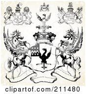 Royalty Free RF Clipart Illustration Of A Digital Collage Of Lion Griffin And Pegasus Crests