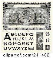 Digital Collage Of Old Fashioned Currency And Letters