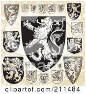 Royalty Free RF Clipart Illustration Of A Digital Collage Of Medieval Lion Shield Designs by BestVector
