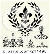 Royalty Free RF Clipart Illustration Of A Digital Collage Of Wreath Border Elements And Designs by BestVector