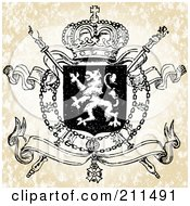 Royalty Free RF Clipart Illustration Of A Lion And Crown Crest by BestVector