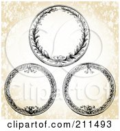 Royalty Free RF Clipart Illustration Of A Digital Collage Of Three Circle Wreath Frames by BestVector