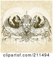 Royalty Free RF Clipart Illustration Of A Griffin And Crown Banner Design Ornament by BestVector