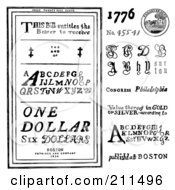 Royalty Free RF Clipart Illustration Of A Digital Collage Of Old Fashioned Letters And Coins