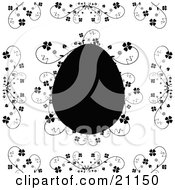 Clipart Illustration Of A Silhouetted Easter Egg Over A White Background With Elegant Floral Vines