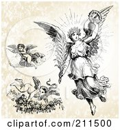 Royalty Free RF Clipart Illustration Of A Digital Collage Of Three Victorian Angels by BestVector