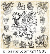 Royalty Free RF Clipart Illustration Of A Digital Collage Of Fantasy Creatures by BestVector