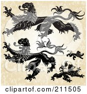 Royalty Free RF Clipart Illustration Of A Digital Collage Of Heraldic Lions by BestVector
