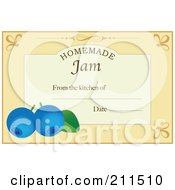 Pastel Orange Homemade Jam From The Kitchen Of Label With Blueberries Text And Date Space