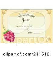 Royalty Free RF Clipart Illustration Of A Pastel Orange Homemade Jam From The Kitchen Of Label With A Raspberry Text And Date Space