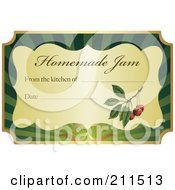 Golden And Green Homemade Jam Label With Text And Date Space 8