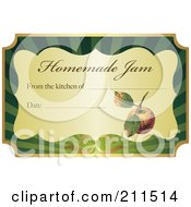 Golden And Green Homemade Jam Label With Text And Date Space 4