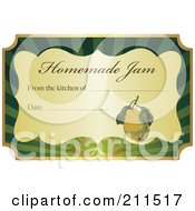 Golden And Green Homemade Jam Label With Text And Date Space 2