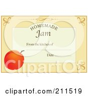 Royalty Free RF Clipart Illustration Of A Pastel Orange Homemade Jam From The Kitchen Of Label With A Peach Text And Date Space