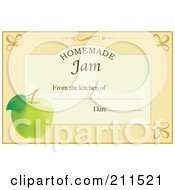 Royalty Free RF Clipart Illustration Of A Pastel Orange Homemade Jam From The Kitchen Of Label With An Apple Text And Date Space