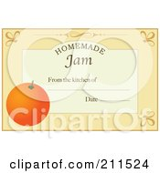Pastel Orange Homemade Jam From The Kitchen Of Label With An Orange Text And Date Space