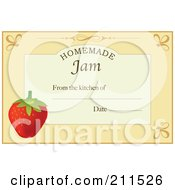 Pastel Orange Homemade Jam From The Kitchen Of Label With A Strawberry Text And Date Space