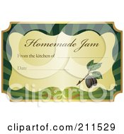 Golden And Green Homemade Jam Label With Text And Date Space 5