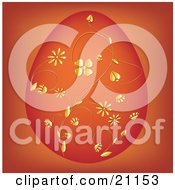 Clipart Illustration Of An Elegant Orange Easter Egg With Intricate Floral Patterns In Gold Over An Orange Background