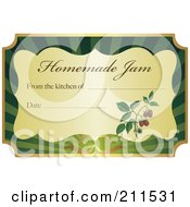 Golden And Green Homemade Jam Label With Text And Date Space 1