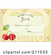 Pastel Orange Homemade Jam From The Kitchen Of Label With Cherries Text And Date Space