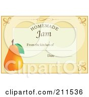 Royalty Free RF Clipart Illustration Of A Pastel Orange Homemade Jam From The Kitchen Of Label With A Pear Text And Date Space