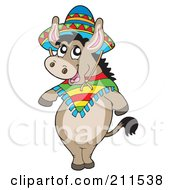 Royalty Free RF Clipart Illustration Of A Cute Mexican Donkey Wearing A Sombrero by visekart