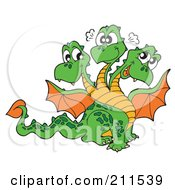Royalty Free RF Clipart Illustration Of A Three Headed Dragon With Orange Wings