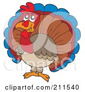 Royalty Free RF Clipart Illustration Of A Male Tukey Bird With Fanned Feathers