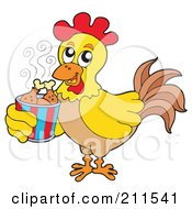 Royalty Free RF Clipart Illustration Of A Rooster Carrying A Bucket Of Chicken Drumsticks