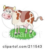 Royalty Free RF Clipart Illustration Of A Happy Dairy Cow In Grass