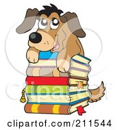 Royalty Free RF Clipart Illustration Of A Cute Dog On Top Of A Stack Of Books by visekart
