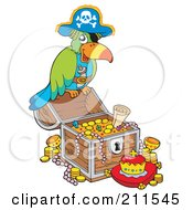 Royalty Free RF Clipart Illustration Of A Pirate Parrot With Treasure