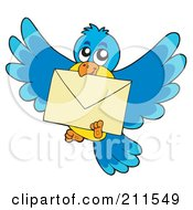 Royalty Free RF Clipart Illustration Of A Blue And Yellow Bird Flying With An Envelope