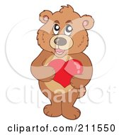 Royalty Free RF Clipart Illustration Of A Cute Bear Holding A Red Heart