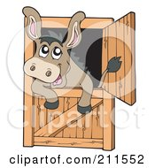 Royalty Free RF Clipart Illustration Of A Cute Donkey Looking Out Of A Stable Door by visekart